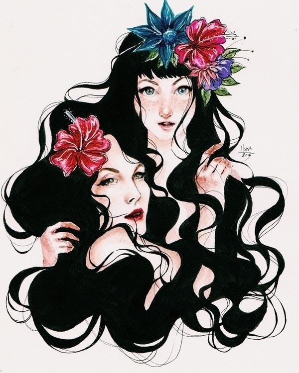 siblings, watercolour paper - illustration - uswatune | ello