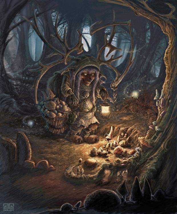 Night collecting - mushroom, mushrooms - inkgolem | ello