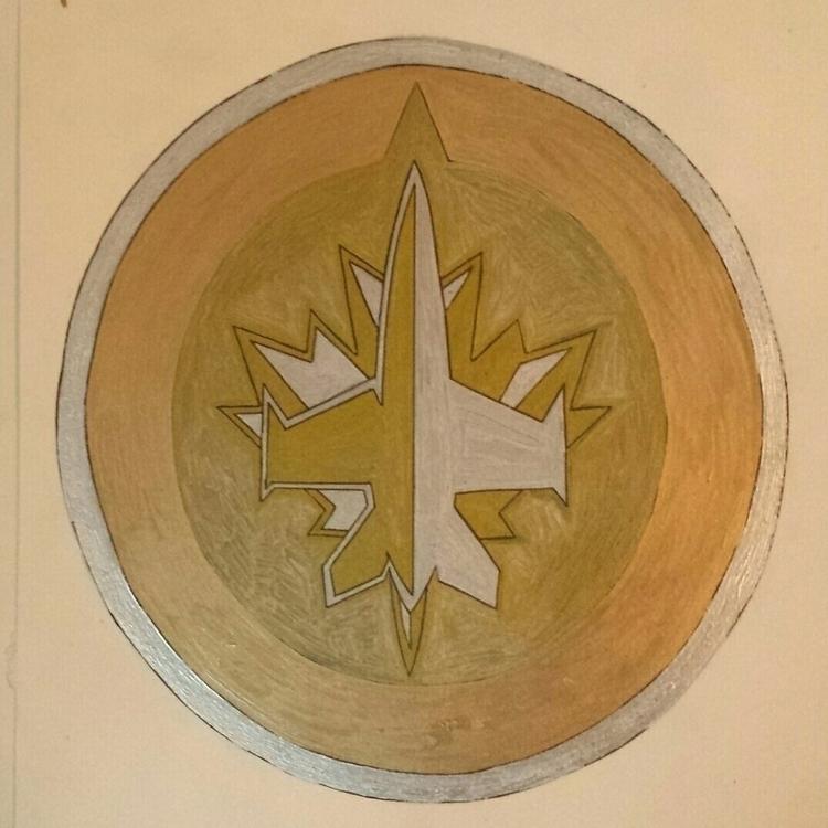 Winnipeg Jets Logo Drawn Gold S - stevenhart | ello