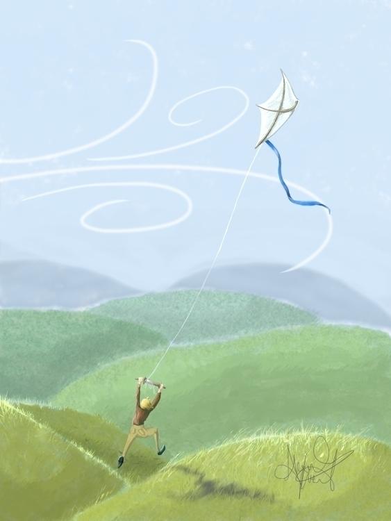 Kite Flying flying kite ... mea - abigailkraft | ello