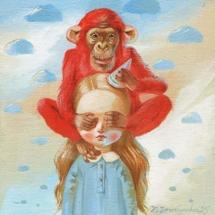 Red monkey. Oil painting - characterdesign - derevyanko-art | ello