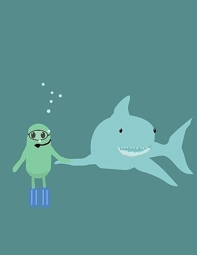 Shark Love - shark, illustration - derptin | ello