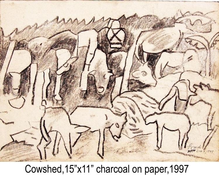 Cowshed, Charcoal paper, 15 - pronab | ello