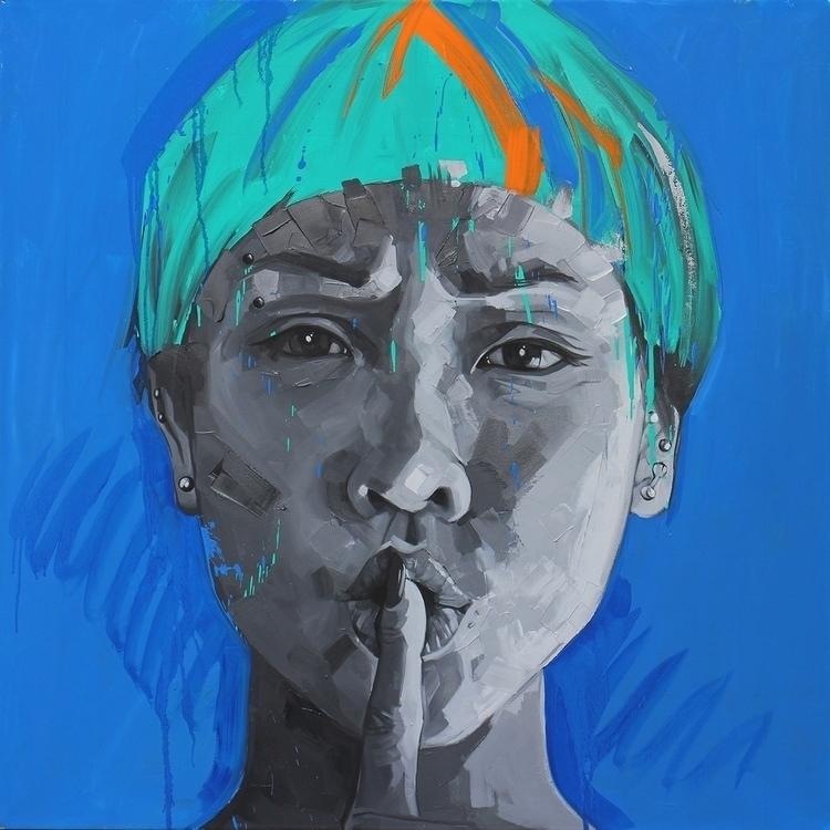 Shhhhh - painting, portrait, portraiture - koscos | ello