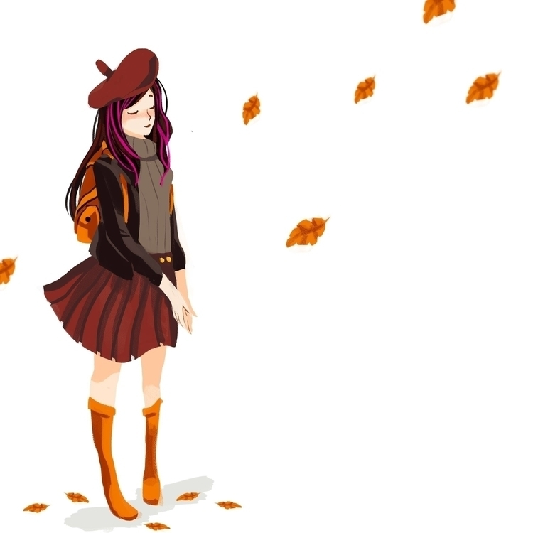 Autumn Rain - illustration, characterdesign - rei410 | ello