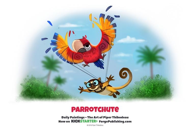 Daily 1321. Parrotchute - piperthibodeau   ello