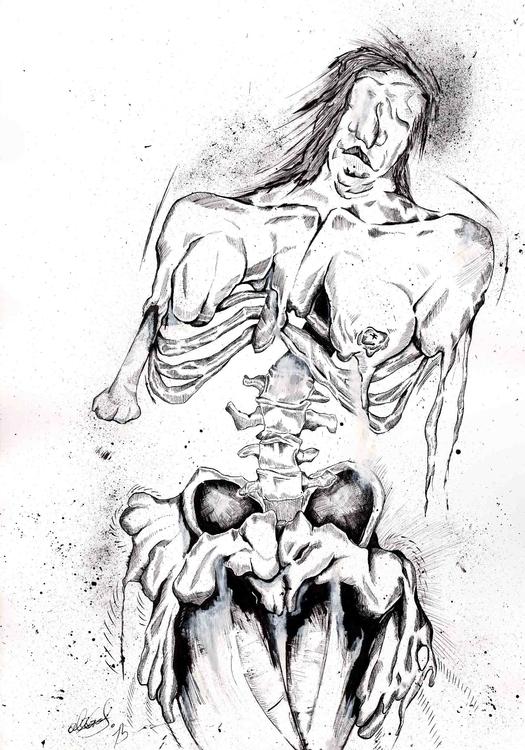 hang - skin, skeleton, ink, blackandwhite - alexgraf | ello