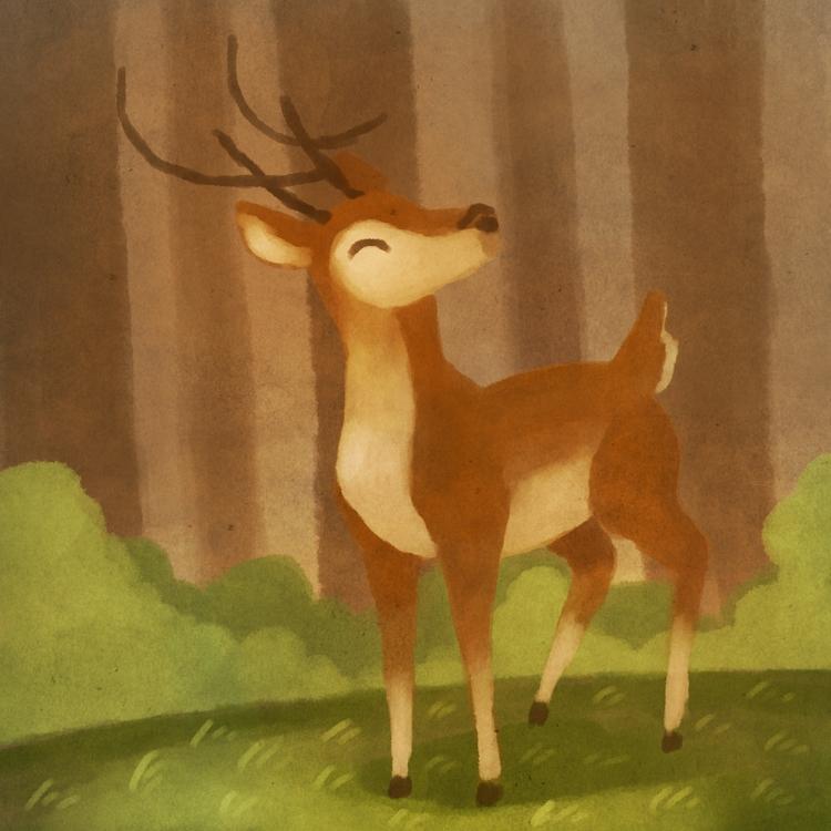 Forest deer - illustration, digitalart - alexjohnston | ello