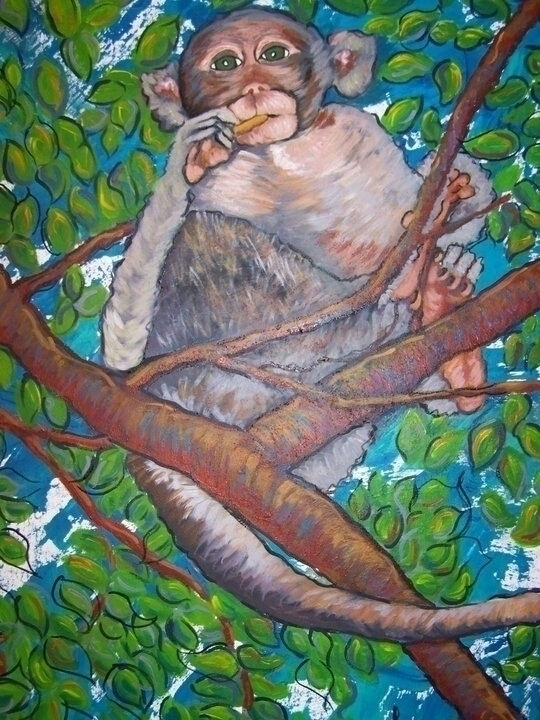Cambodian Monkey - monkeys, painting - michele-1314 | ello