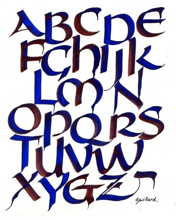 Uncial alphabet red blue, edged - deborahwillard | ello