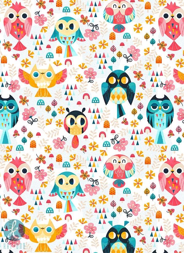 Hoot, hoot - owls, cute, florals - katuno | ello