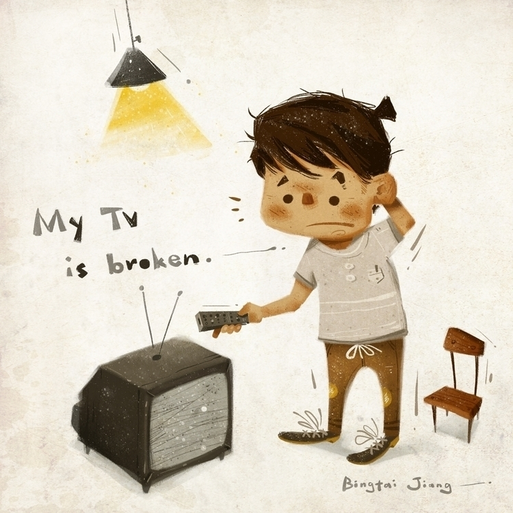 TV broken - illustration, painting - bingtai | ello