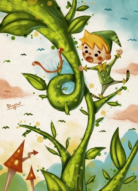 Jack - illustration, fairytale, Beanstalk - bingtai | ello