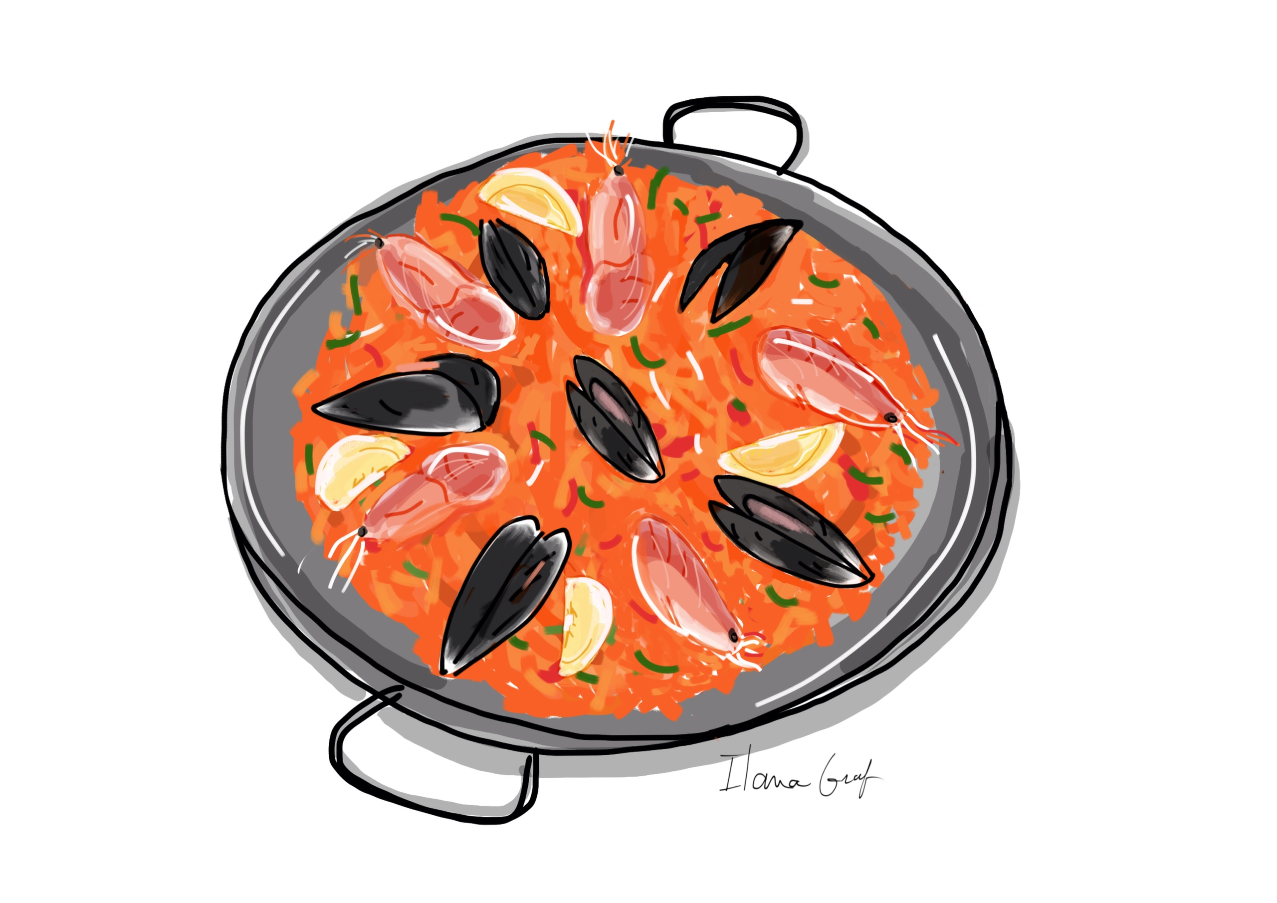 spanish food paella - illustration - ilanagraf | ello