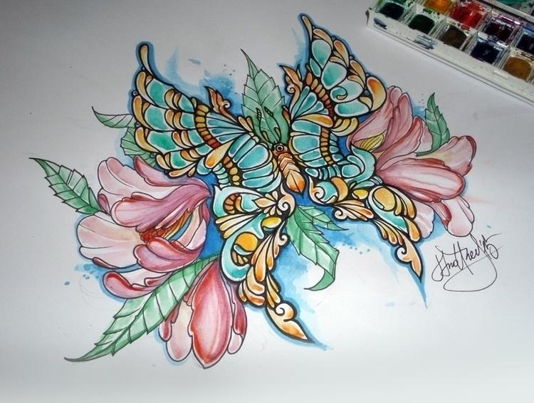 pen, watercolors - butterfly, flowers - syrnique | ello