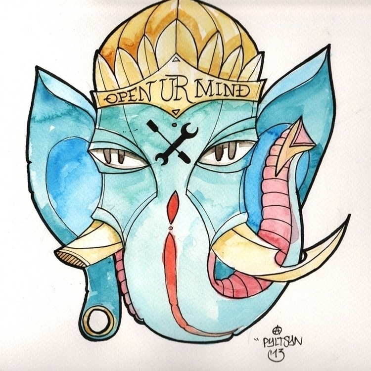 watercolor, ink - ganesha, tattoo - syrnique | ello