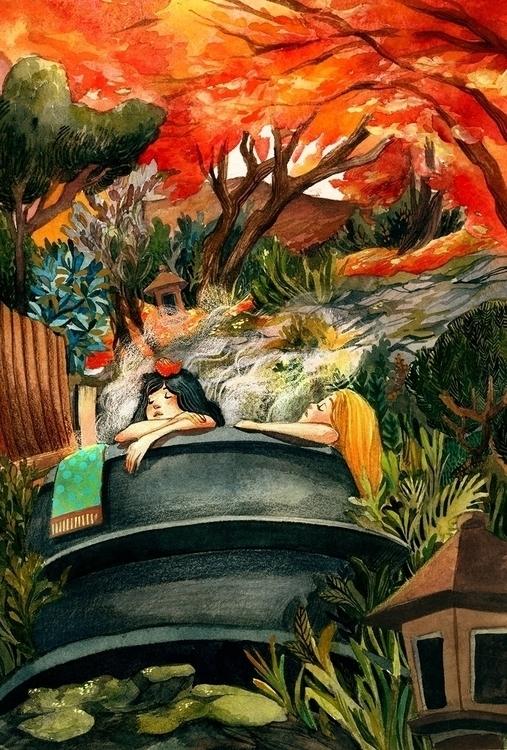 Ohara Onsen - malisasuchanya, illustration - lisabanana | ello