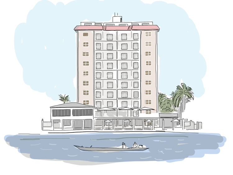 Hotel boat - building, illustration - ilanagraf | ello