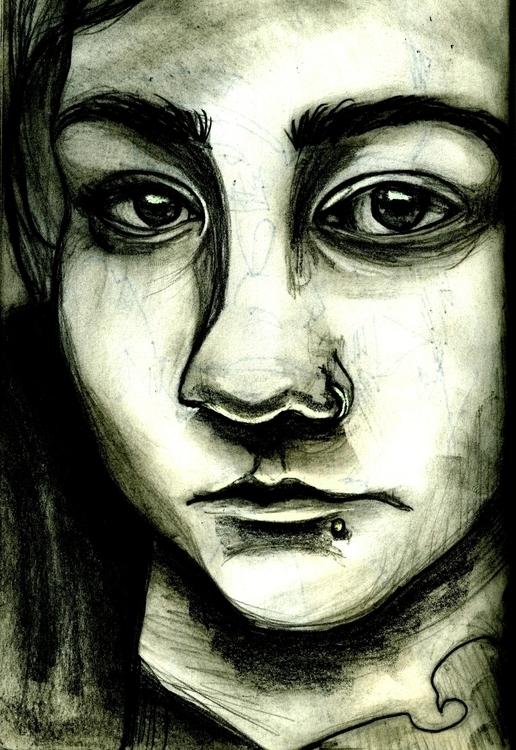 illustration, sketchbook, selfportrait - cervidae-1054   ello