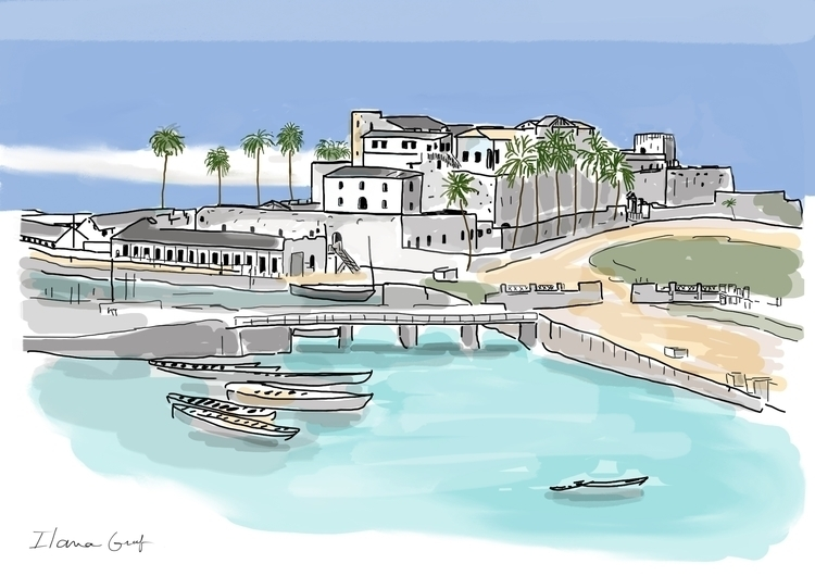 village boats - buildings, sea, bright - ilanagraf | ello