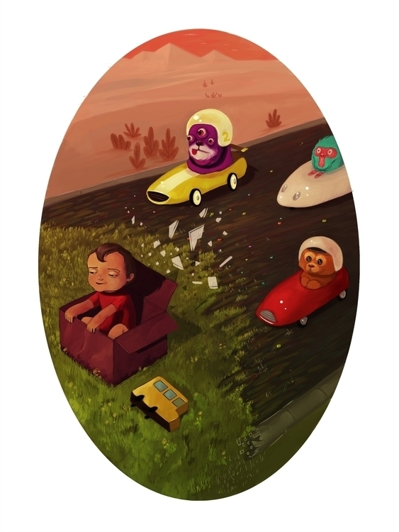 Box. Digital illustration - box,imagination,child,whimsical,fantasy,car,itisnotabox - cvaldes | ello