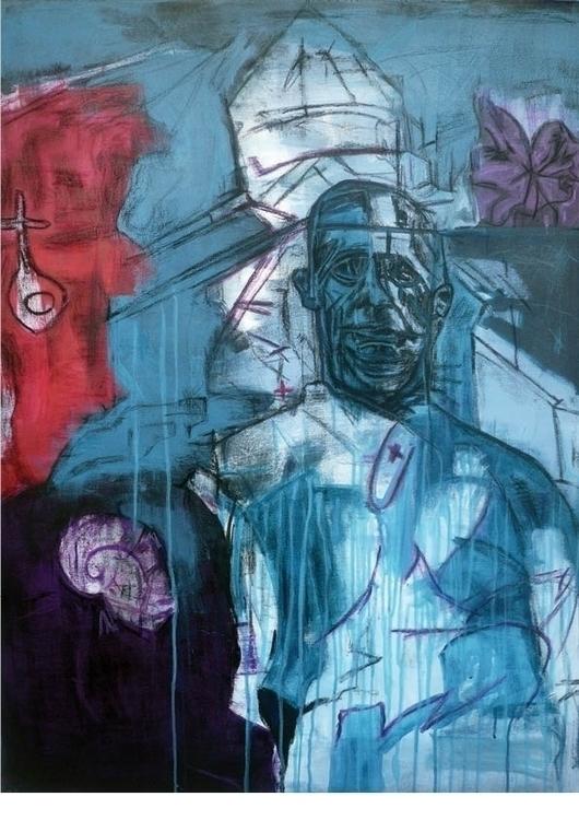 Face-Mixed media canvas-70x100c - gdlynnosman   ello
