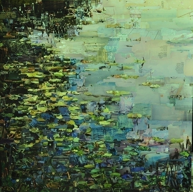 Village lily pond - collage, painting - sukantad | ello