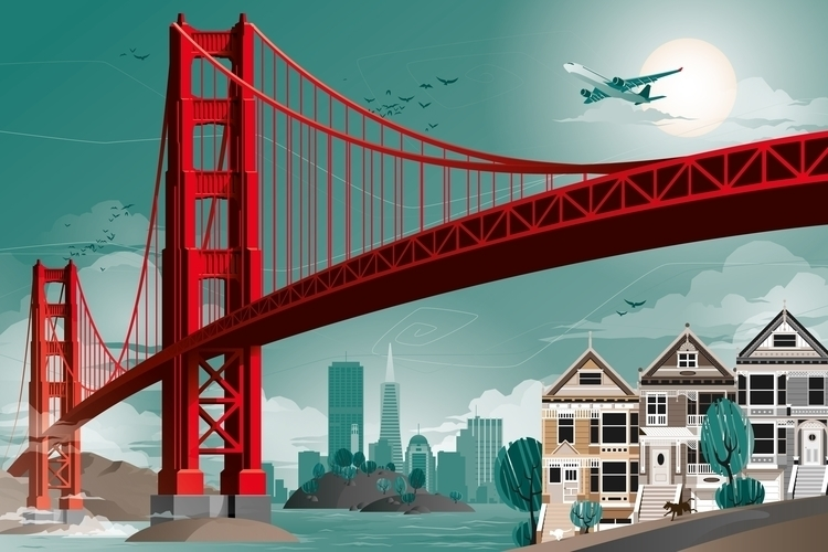 Panoramic illustration San Fran - solloki | ello