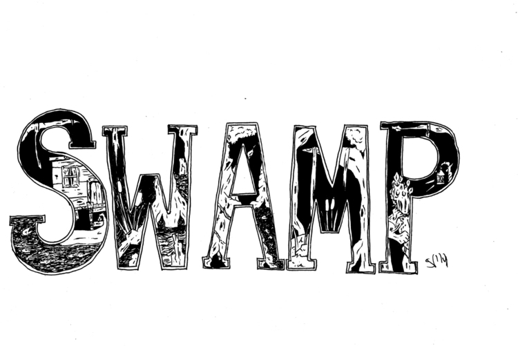swamp themed lettering piece - marsh - svaeth | ello