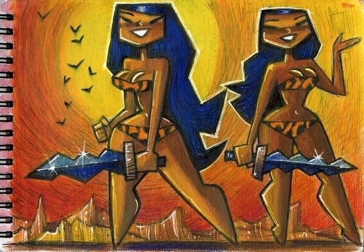Savage Sisters - gouache, colourpencils - eddycrosby | ello