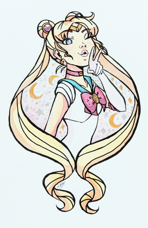 Sailor Moon - illustration, watercolor - kelsonouveau | ello