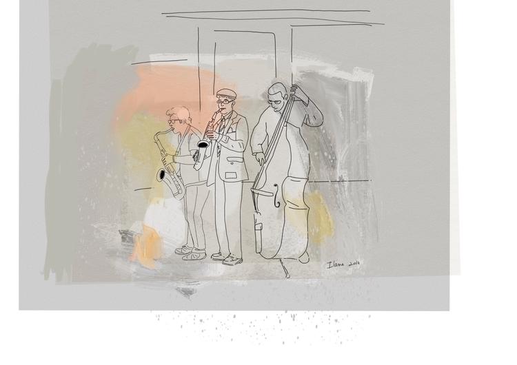 Street musicians - music, sketch - ilanagraf | ello