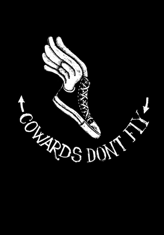 cowards dont fly - flying, shoe - hueroth | ello