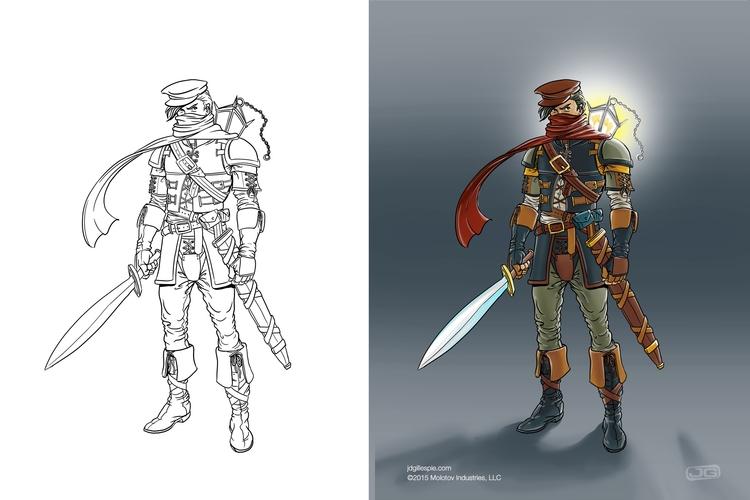 Male warrior - Molotov - conceptart - jgdc | ello