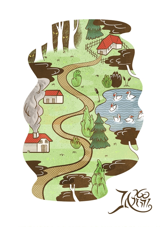 Park map - swan, house, forest, illustration - efiolin | ello