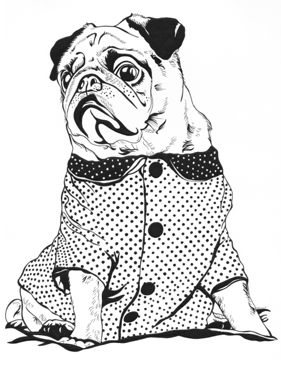 illustration pug design - drawing - sheree-3254 | ello