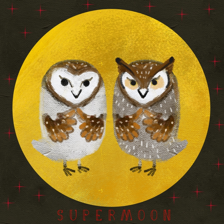 supermoon~owl~ - illustration, painting - soso-6104 | ello