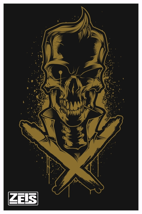 Toothpick skull - Gold, Vector, vectorillustration - zeis-7669 | ello