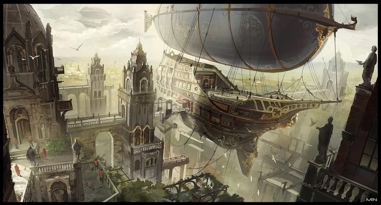 Airship city Artist: Min Nguen - minnguen | ello