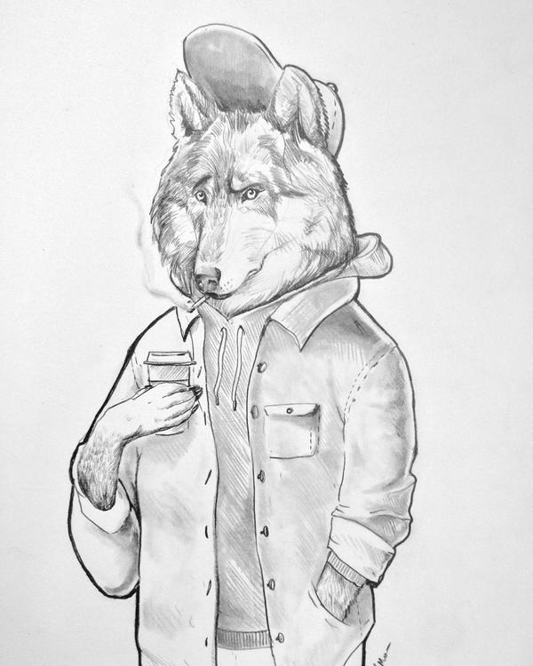 Hipster wolf - illustration, animation - santiagomora95 | ello