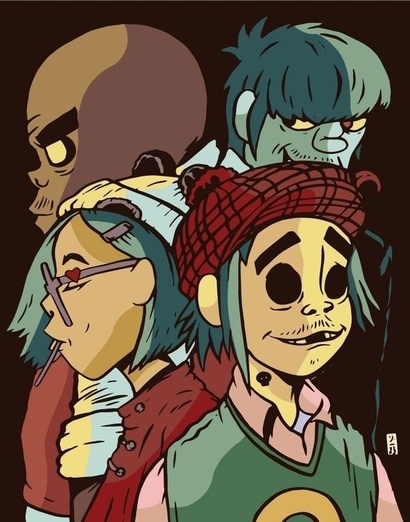 Gorillaz Fan Art - illustration - thomcat23 | ello
