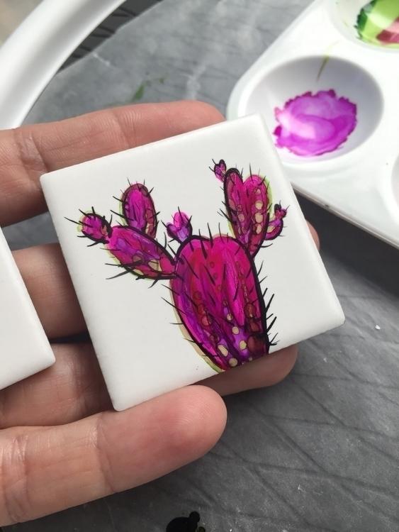 Alcohol ink ceramic tile - handpainted - art_venom | ello