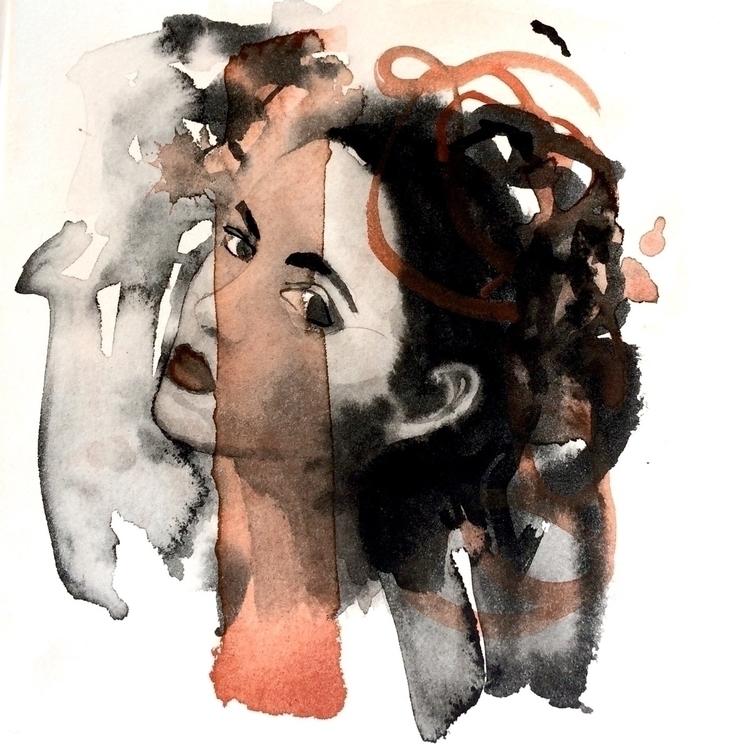 Face - paper, watercolor, lampblack - vasagatan | ello
