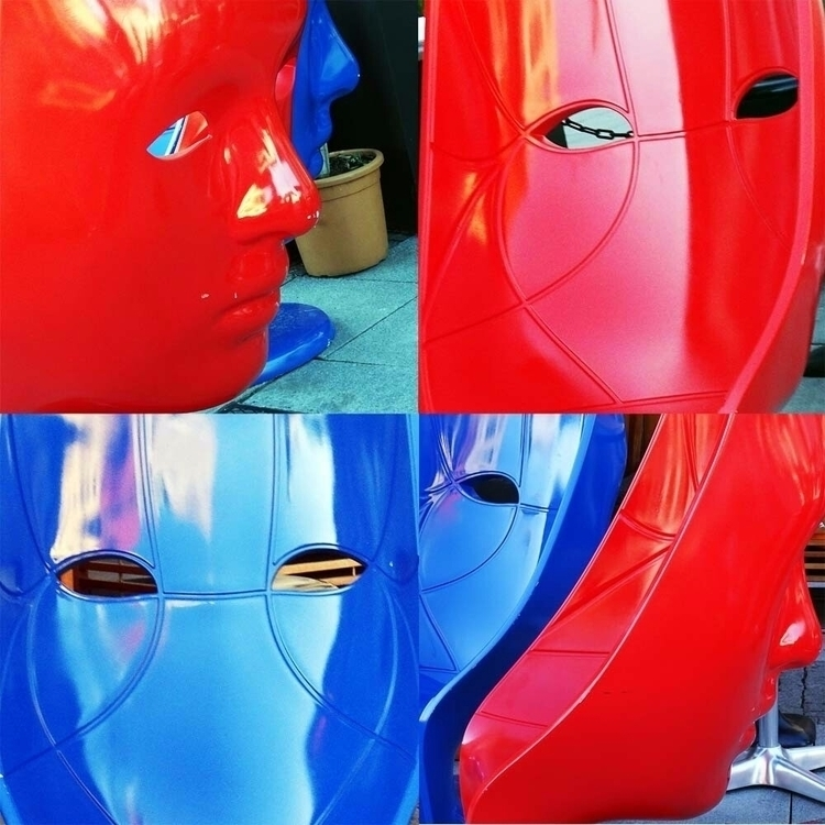 red blue. giant masks turned ch - thesupercargo | ello