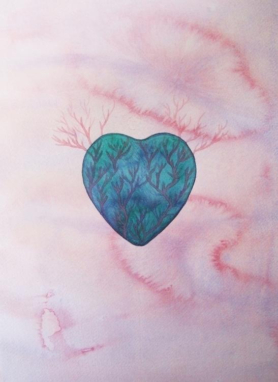 Coeur Turquoise Watercolour - euric | ello
