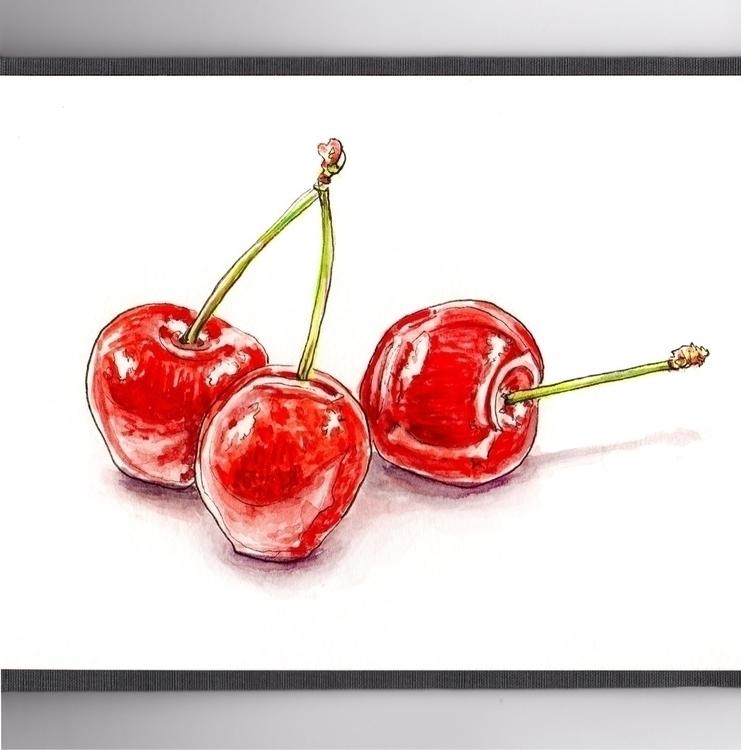 Cherries Smile - watercolor, watercolour - doodlewash | ello