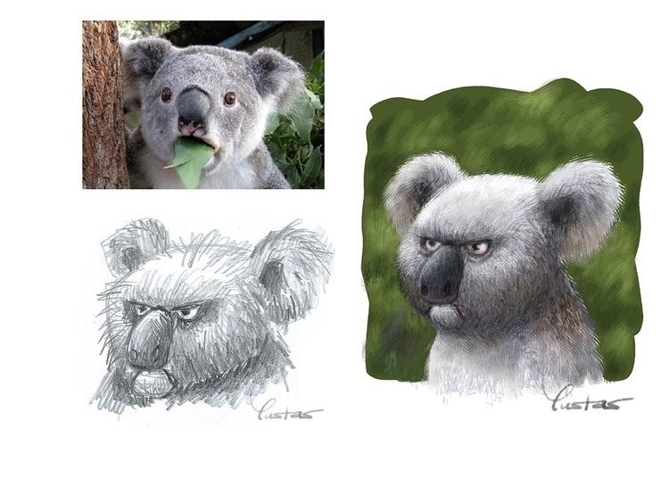 Draft - koala, koalabear, art, illustration - yustas | ello