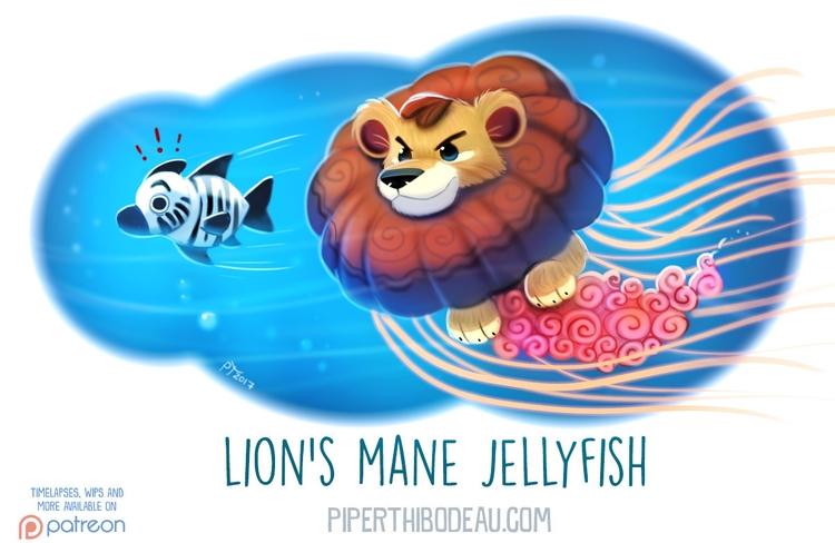Daily Paint 1615. Mane Jellyfis - piperthibodeau | ello