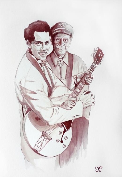 Chuck Berry Pintura con vino - illustration - juancho-1275 | ello