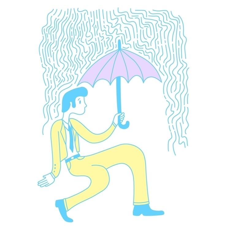 Stridin' Rain - illustration, illustrator - heybop | ello